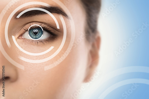 Fototapeta Concepts of laser eye surgery or visual acuity check-up obraz
