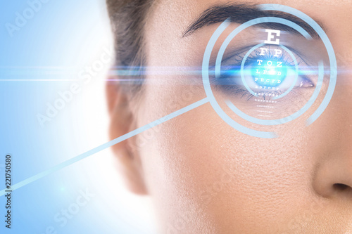 Obraz Concepts of laser eye surgery or visual acuity check-up - fototapety do salonu