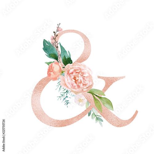 Valokuva  Peach Cream / Blush Floral Alphabet - ampersand & with flowers bouquet composition