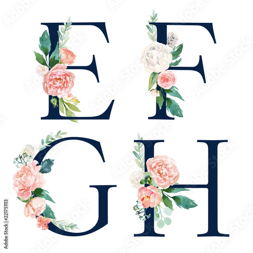 Valokuva  Floral Alphabet Set - set of navy letters E, F, G, H with flowers bouquet composition