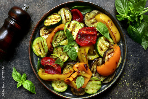 Grilled vegetables (  colorful bell pepper, zucchini, eggplant ) with basil and dry herbs Slika na platnu