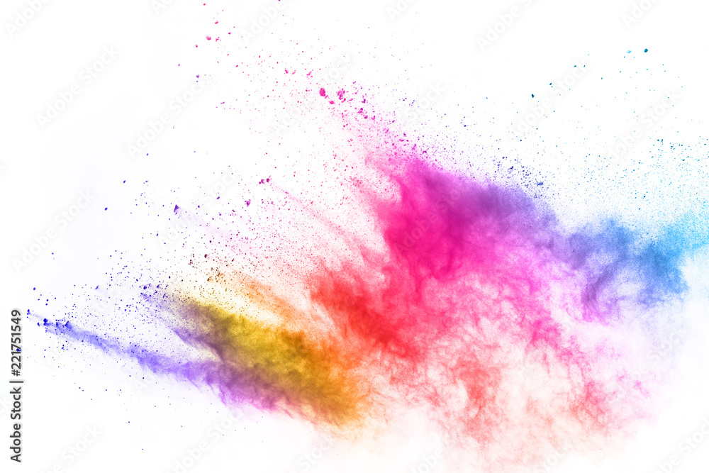 Fototapety, obrazy: Colorful powder explosion on white background. Colored cloud. Colorful dust explode. Paint Holi.