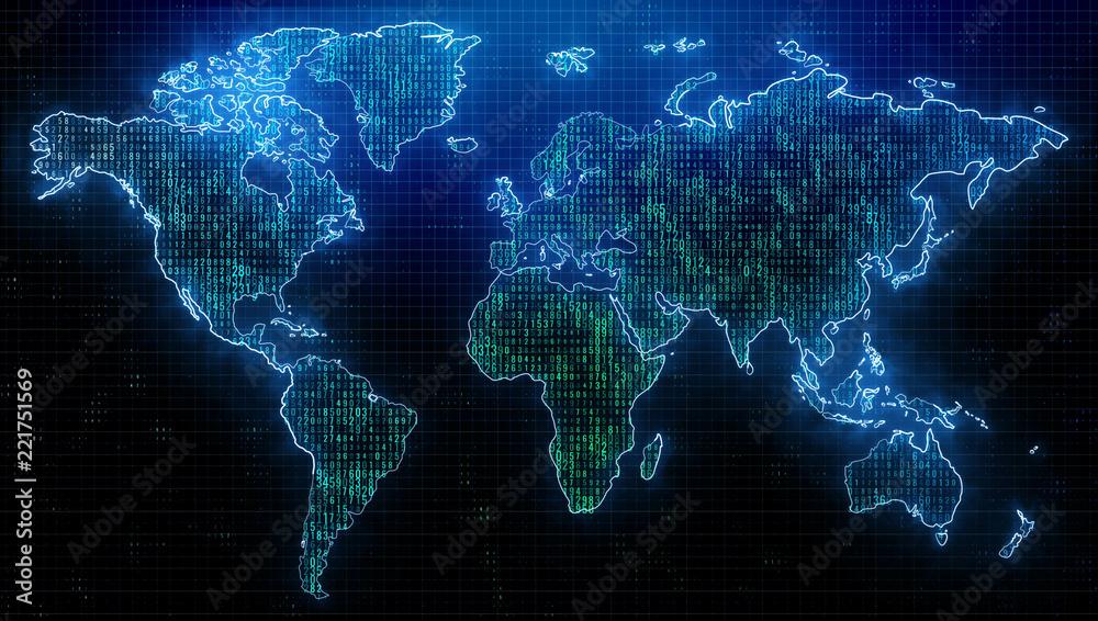Fototapety, obrazy: Global travel and computing backdrop