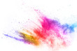 canvas print picture - Colorful powder explosion on white background. Colored cloud. Colorful dust explode. Paint Holi.
