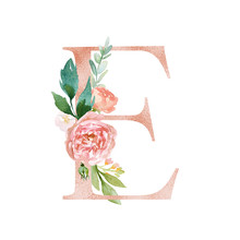Floral Alphabet - Blush / Peach Color Letter E With Flowers Bouquet Composition. Unique Collection For Wedding Invites Decoration And Many Other Concept Ideas.