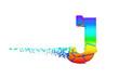 Broken shattered iridescent alphabet letter J uppercase. Crushed rainbow font. 3D render isolated on white background.