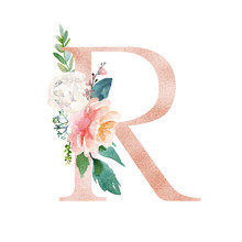 Floral Alphabet - Blush / Peach Color Letter R With Flowers Bouquet Composition. Unique Collection For Wedding Invites Decoration And Many Other Concept Ideas.