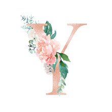 Floral Alphabet - Blush / Peach Color Letter Y With Flowers Bouquet Composition. Unique Collection For Wedding Invites Decoration And Many Other Concept Ideas.