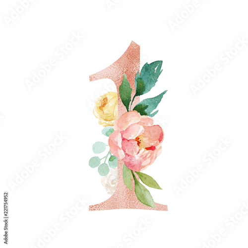Peach Cream Blush Floral Number - digit 1 with flowers bouquet composition. Unique collection for wedding invites decoration & other concept ideas.
