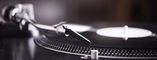Turntable With Black Record An...
