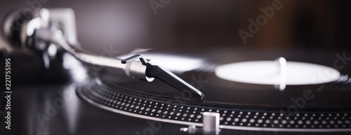 Fotografie, Tablou  Turntable with black record and headshell