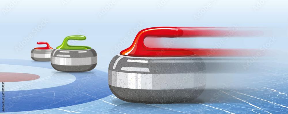 Fototapeta Stones for curling sport game. Ice. Rink. Textures blue ice. Winter background. Banner. Vector illustration, eps 10