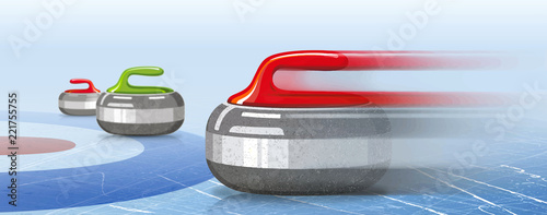 Stones for curling sport game Fototapet