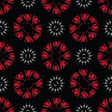Black Bohemian Retro Floral Ve...