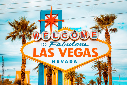 Spoed Foto op Canvas Las Vegas Welcome to Fabulous Las Vegas sign, Las Vegas Strip, Nevada, USA