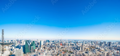 panoramic modern city skyline aerial view under blue sky in Tokyo, Japan