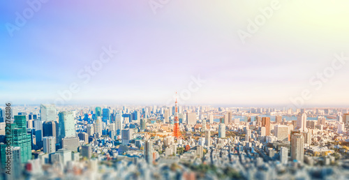 Poster Tokio panoramic modern city skyline aerial view under blue sky in Tokyo, Japan