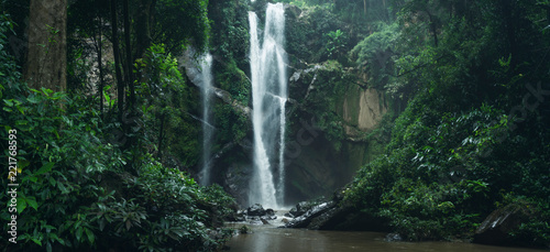 Montage in der Fensternische Wasserfalle Waterfall Waterfall in nature travel mok fah waterfall