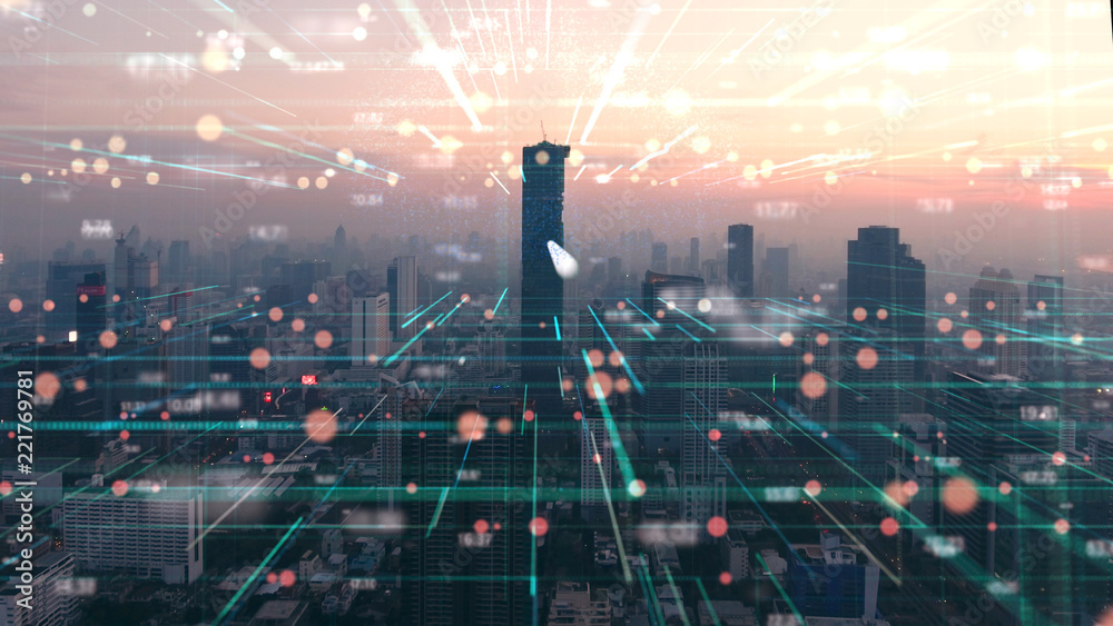 Fototapety, obrazy: the double exposure image of digital line and city Aerial view,Business and technology Background