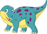 Fototapeta Dinusie - Cartoon happy dinosaur