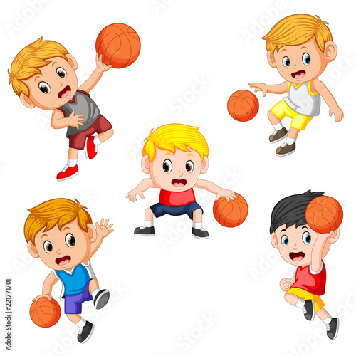 Papiers peints Chambre bébé simple collection of the basketball children player with the different posing