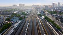 Railroad Tracks At Jakarta Kota Train Station