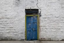 Old Vintage Door On Retro Wall