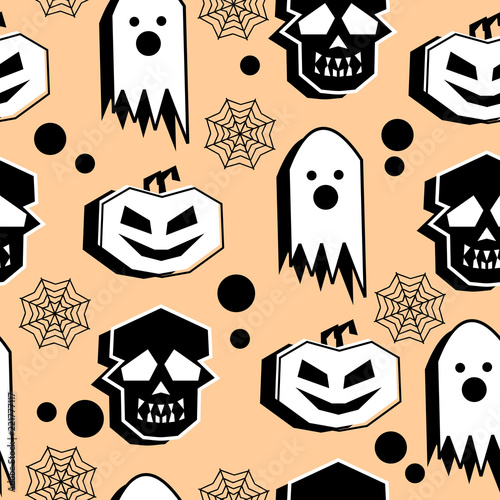 Happy Halloween Theme Seamless Pattern With Skull Ghost And Pumpkin Vintage Geometric Abstract Background Trendy Yellow Black And White Creative Unusual Fashion And Textile Vector Buy This Stock Vector And Explore