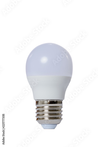Fotografia  Led lamp with opaque glass bulb. White background.