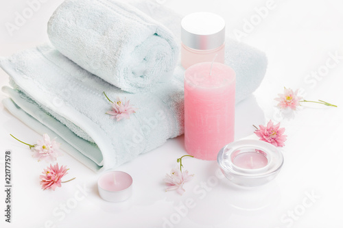 Spa Concept In Valentine S Day Birthday Day Pink Peony Candles