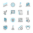 Business strategy outline icon collection set. Target vector illustration.