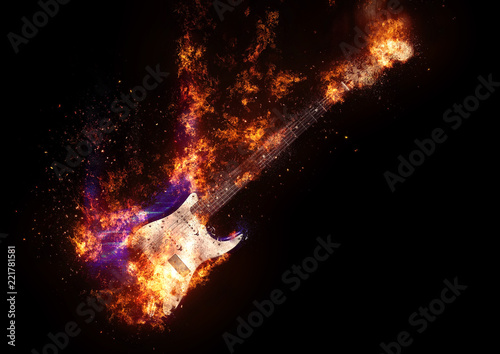 Fotografiet  Flame electric guitar