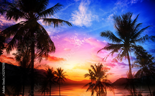 Foto op Canvas Donkerblauw Double exposure Landscape mountain and coconut tree with sky and cloud made vivid color background