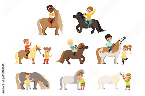 Fotografie, Obraz Cute little children riding ponies and taking care of their horses set, equestri