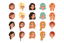 Set Of Different Girl S Hair S...