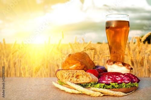 Tuinposter Bier / Cider Beer, meat snacks, vegetables products in field