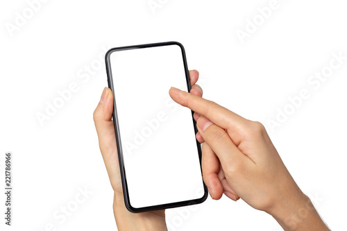 Fotografía  Hand woman holding smartphone with blank screen isolated on white background wit