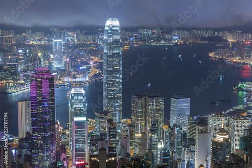 Staande foto Aziatische Plekken Night scene of Victoria harbor of Hong Kong city