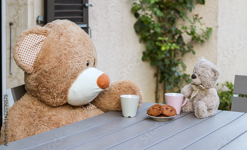 Sweet two Teddy Bears sitting at the table outside with cup of tea and cookies. Big and small. Frendship of opposites. Teddy Bear Day