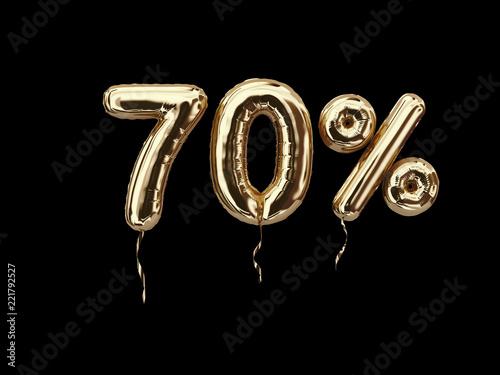70 % sale banner flying foil balloons on black background Tableau sur Toile