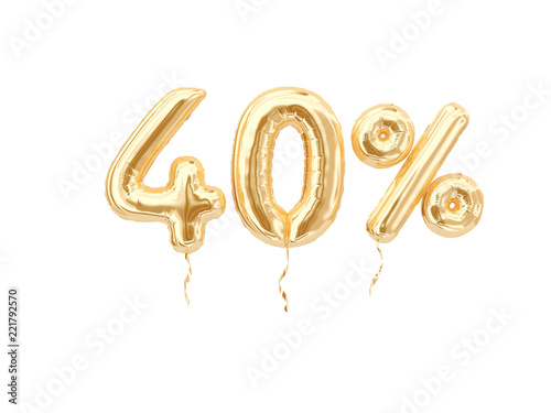 Tela  40 % sale banner golden flying foil balloons on white