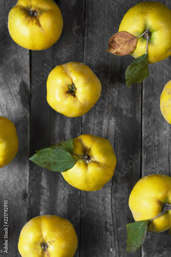 A lot of apple quince  on dark wooden background. top view Poster Mural XXL