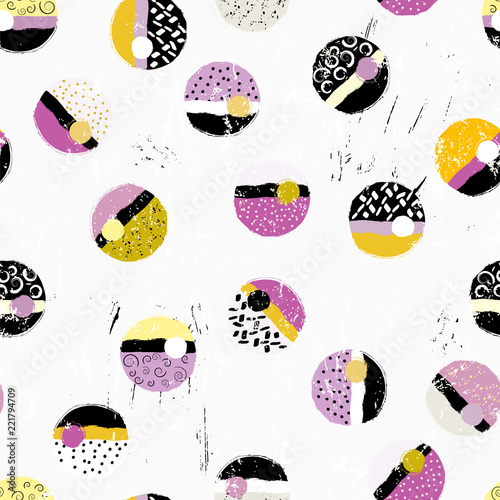 seamless background pattern, with circles/dots, with paint strokes and splashes