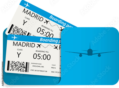 Photo Vector illustration of blue airline tickets or boarding pass inside of special service envelope