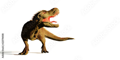 Fotografie, Obraz  Tyrannosaurus rex roaring,  T rex dinosaur (3d illustration isolated on white ba