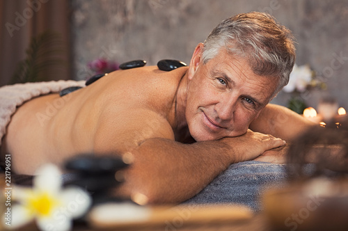 Senior man at beauty spa