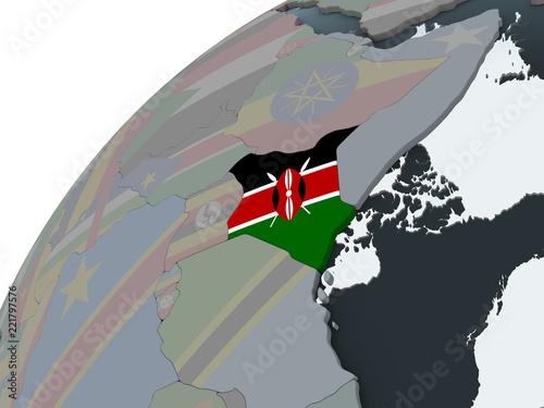 Türaufkleber Künstlich Kenya with flag on globe