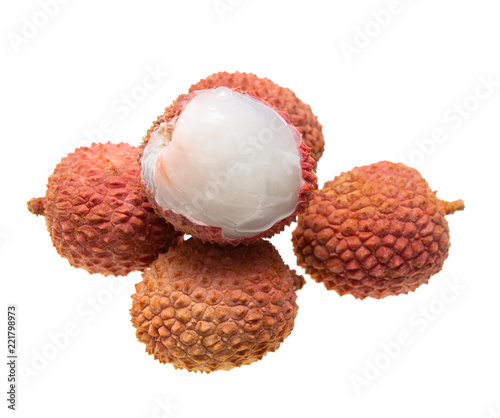 fruit lychee on white background