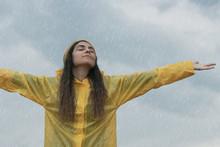 Woman Wearing Yellow Raincoat ...