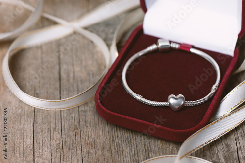 Beautiful silver bracelet in red gift box
